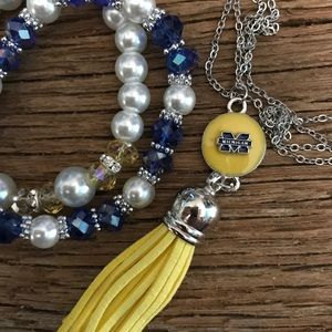 Jewelry - Michigan Wolverines tassel necklace and bracelets
